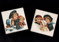 Pair of Victorian Chromo Lithograph Boxes Decorated with Children - Ma Petite Parisienne #dollshopsunited