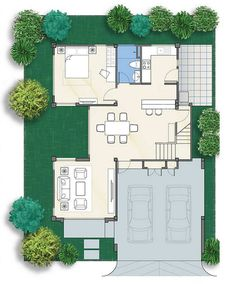 Another two story with 3 bedrooms, 3 bathrooms, 2 parking spaces with a new concept that fits every single house. This concept has a total floor area of 230 Two Story House Design, 2 Storey House Design, Two Story House Plans, Bungalow House Design, Two Story Homes, Dream House Plans, Modern House Plans, House Floor Plans, Modern Filipino House