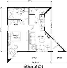 Sidekick Homes - Right House floorplan for a whimsical contemporary house - The large porch expands the living space for seasonal living.  A garage can be attached in the rear with an entry through the utility room.