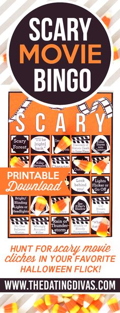 Scary Movie BINGO! Printable BINGO cards. Turns out- this is the MOST fun you can possibly have while having your pants scared off! PERFECT for a fun Halloween date night!