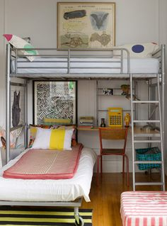 Fawn Galli website: cool bunk bed with clean lines AND a desk underneath