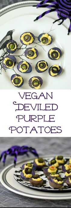Halloween Vegan Deviled Purple Potatoes is just one of the festive recipes in Kathy Hesters The Ghoulish Gourmet. No need for eggs in this healthy recipe. Learn how to make them all by visiting www., or pin and save for later! Halloween Snacks, Halloween Dinner, Halloween Cupcakes, Healthy Halloween, Halloween Recipe, Halloween Eyeballs, Halloween Baking, Halloween Queen, Halloween 2019