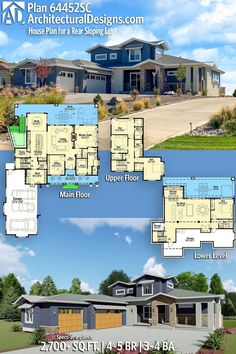 House Plan 64452SC gives you 2700+ square feet of living space with 4-5 bedrooms and 3-4 baths. AD House Plan #64452SC #adhouseplans #architecturaldesigns #houseplans #homeplans #floorplans #homeplan #floorplan #houseplan Building Section, Building A House, Building Ideas, Country House Plans, Modern House Plans, Plumbing Drawing, Sims House Design, Craftsman Exterior, Roof Detail