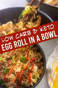 Egg roll in a bowl is one of our favorite meals to have as leftovers. So good when you make, so good the next day too! #leftovers #lowcarb #keto #eggroll Low Carb Recipes, Cooking Recipes, Healthy Recipes, Healthy Meals, Sausage Recipes, Healthy Eating, Bariatric Recipes, Quiche Recipes, Ketogenic Recipes