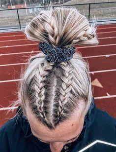 The Most Effective Hair Growth Shampoos & Conditioner The Most Effective Hair Growth Shampoos & Conditioner easy hairstyle girls<br> Athletic Hairstyles, Gym Hairstyles, Cute Volleyball Hairstyles, Gymnastics Hairstyles, Volleyball Braids, Gymnastics Meet Hair, Gymnastics Quotes, Beach Volleyball, Haircuts