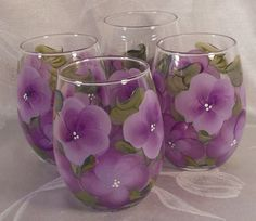 Hand Painted Stemless Wine Glasses  Island Bouquet  by EverMyHart, $49.95