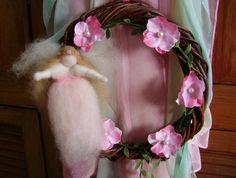 Beautiful  Waldorf Inspired Spring  Fairy Willow Wreath  -  NZ Wool