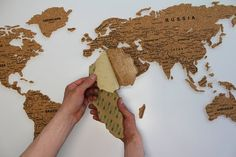 World Cork Map. 6 mm cork on adhesive film - cm; 10 mm cork on adhesive film - cm; It easy to place this cork map on the wall. Cork map has side special sticky layer Cork map consist of 45 cork stickers(continents and islands). Cork World Map, Cork Map, World Map Decor, World Map Wall Decal, Wall Maps, Travel Wall Decor, Home Wall Decor, Aviation Decor, Tinsel Tree