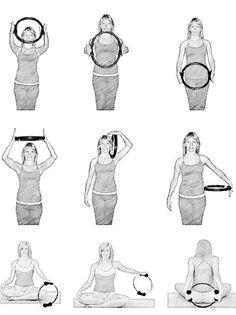 pilates ring arm exercises: Found a #pilatesring in the sales today, so thought I'd make the £2.00 investment and gather some images to try it out! Here's to arms of steel this summer?
