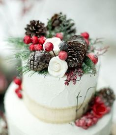 33 Adorable Christmas Wedding Cakes | HappyWedd.com