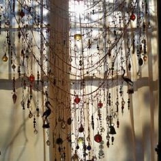 So pretty dangling in the sunshine! Beads, wire, little charms and bells <3