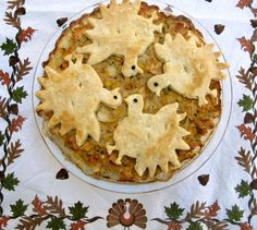 Turkey Pie Reinvented by Angela Roberts. Just use your Thanksgiving leftovers like mashed potatoes, corn, stuffing, turkey put in pie pan and top with pie dough cut outs.