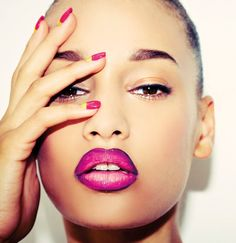 Black Girls Killing It ~ blackberry lip liner, magenta lips and assorted nails <3! Lovely color. Looks fab on her.