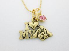 I Love My Dog Necklace B049. 24K Gold Plated by CranberryStreetNY, $12.99