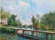 Alfred Sisley - La passerelle. Chemin de Halage du Canal du Loing (1886)