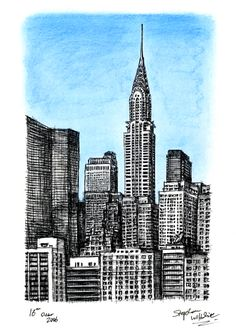 Birds eye view of Chrysler Building NY - drawings and paintings by Stephen Wiltshire MBE