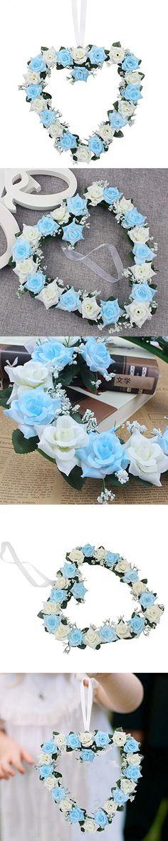 Lanlan Heart Rose Wreath for Wedding Decorations Home Decorations Door Decorations Living Room Hanging Flower White-blue 1PCS