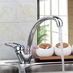 RU 360 Degree Rotation Kitchen Faucet Single Handle For Bathroom  Sink Mixer Tap Chrome Finish Kitchen Faucets Deck Mounted