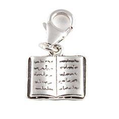 Charm-Anhänger Buch Sterling Silber mit Karabiner 11 mm - http://schmuckhaus.online/charm-school-uk/charm-anhaenger-buch-sterling-silber-mit-11-mm