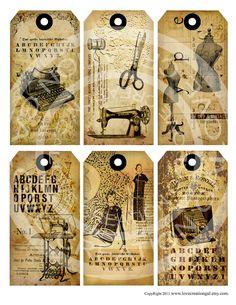 Vintage Clip Art Free Paris   ... Paris Antique Thank You Gift Price Tags Digital Collage Sheet clip art
