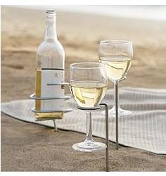 Wine glass holders for the beach