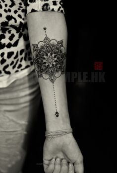 Fine Line & Dotwork Mandala - artwork and tattoo by Elizabeth - www.tattootemple.hk