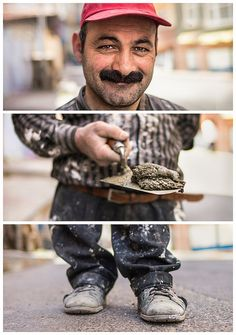 Triptychs of Strangers #31: The contracted Bricklayer, Balat - Istanbul by theblackstar, via Flickr