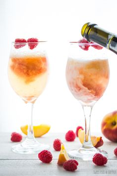 Peach & Raspberry Bellinis | sweetpeasandsaffron.com
