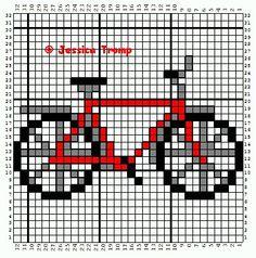 Easy Bike Cross Stitch or Perler Bead Pattern
