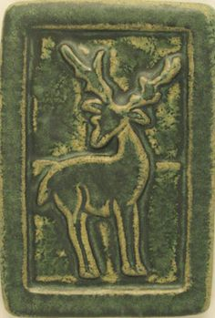 Pewabic Pottery (founded in 1903 by Mary Stratton, Detroit)  |  Deer tile.