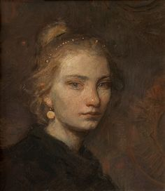 """CHARLES WEED, """"AN ETRUSCAN GIRL (FOR D. H. LAWRENCE)""""  OIL ON PANEL  10 X 8 1/2 INCHES"""