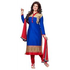Eid Special Designer Embroidered Royal Blue Cotton Unstitched Straight Churidar Suit-1001( ST-AT )Karishma