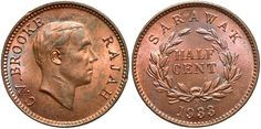 Sarawak. 1933-H. 1/2 Cent. Unc., mostly red.