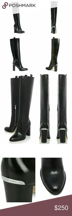 New! MICHAEL KORS Leather Shaw Tall Black Boots A shapely tall boot by MICHAELMichael?Kors, fashioned from smooth leather dials up the downtown-chic appeal of your daily style, while logo-etched hardware flashes at the heel for a signature flourish.  * Brand New with Box * Logo hardware at back of heel * Almond toe * Partial side-zip closure * Medium Width * 4 inch heel; 1/4 inch platform, 15 inch boot shaft * Leather upper/leather and textile lining/synthetic sole * Retails for $295…