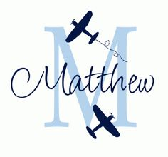 toddler boys turquoise,chocolate brown, and ivory bedroom | Airplane Name and Initial Wall Decal | Vinyl Wall Decals, Personalized ...