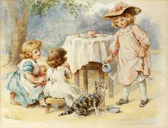 Agnes Rose (Bouvier) Nicholl (British, 1842-1892) Children's tea party