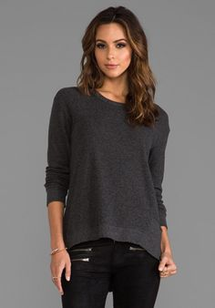 WILT Long Sleeve Mixed Backslant in Solid Charcoal - New