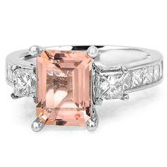 Noori 14k White Gold Morganite and 1 1/10ct TDW Diamond Three Stone Engagement R