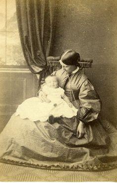 United Kingdom Grantham Woman Baby Victorian Fashion Old CDV Photo Fisher 1865 | eBay