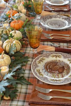 A Thanksgiving Table with Turkey Plates, Plaid and Pumpkin-Oak Leaf Runner – Home is Where the Boat Is