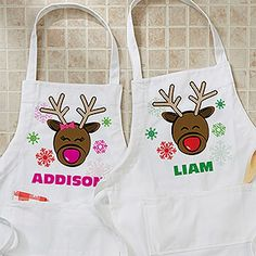 Christmas Reindeer Personalized Youth Apron