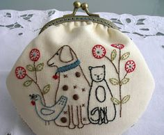 ♒ Enchanting Embroidery ♒  embroidered purse with dog and cat by Lynette..so cute