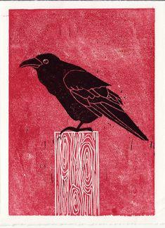 raven linocut - do something interesting w/ raven image in the fall - poe?