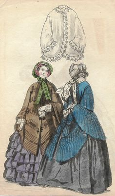 """French Fashion Plate - c1850 - """"""""BROWN & BLUE COATS"""""""" - H-C Lithograph"""