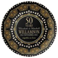 Tribal Sun Black Gold Anniversary Gift Plate Porcelain Plate | Alternative Weddings #customizable #giftideas