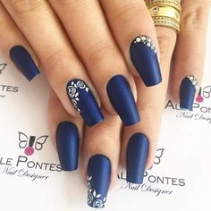 Blue And Silver Nails, Blue Matte Nails, Navy Blue Nails, Blue Acrylic Nails, Homecoming Nails, Prom Nails, Cute Nails, Pretty Nails, Pearl Nails