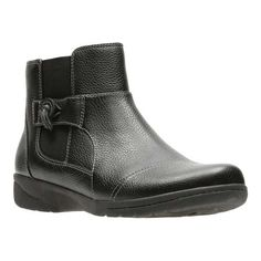 477c35dc4a54 Women s Clarks Cheyn Work Ankle Boot - Black Full Grain Leather Textile  Boots Stylish Boots