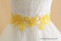 Yellow Pearl and Sequined Lace Sash  Yellow by lovelikestyle, $30.00