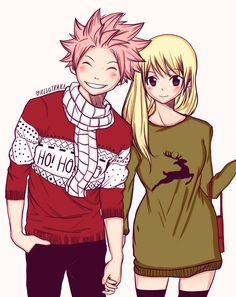 """illustraice: """"lucymadoschi: """" Merry Christmas ❤ Art by i hope u like it :) """" This is so cute! I love natsu's sweater ✨ Thank you for colouring! Fairy Tail Comics, Fairy Tail Art, Fairy Tail Guild, Fairy Tail Ships, Fairy Tail Anime, Fairy Tales, Fairy Tail Family, Fairy Tail Couples, Momentos Nalu"""