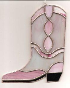 Handmade Stained Glass Cowboy Boot Suncatcher BOOT09 | eBay